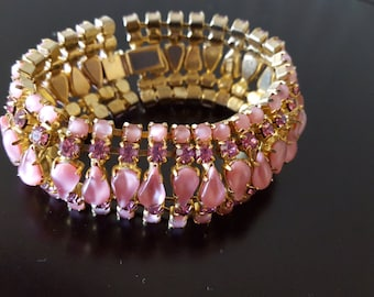 Vintage Pink Rhinestone Bracelet /  WARNER / Costume Jewelry / Bling Fashion Jewelry / Mother of the Bride Gift / Gift / Prom / Wedding
