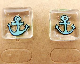 Anchor Earrings, Nautical Earrings, Ocean Earrings, handmade
