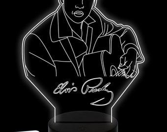 Lamp Custom LED 3d Elvis Presley Music singer in plexiglass Night lamp custom LED Multicolor