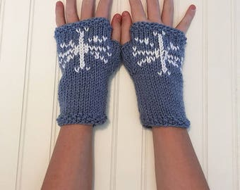 Snowflake Mitts - Fingerless Gloves in Denim BLUE and White