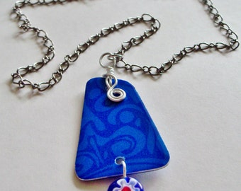 blue swirls upcycled gift card necklace - reversible - assymetrical