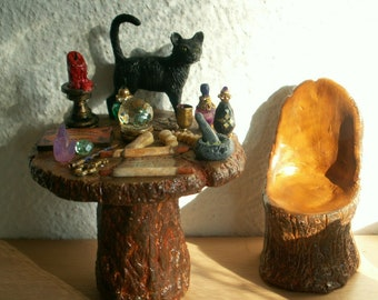 Dollhouse Miniature Witch's/Wizard's Table and Chair, Witch Furniture, Haunted Doll House Halloween Inch Scale 1/12 Scale Doll Accessories
