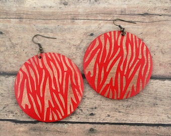 Zebra Print Round Wood Earrings