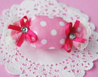 Sweet Puffy Pink Candy Hairclip
