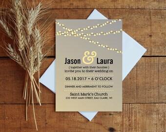 Wedding Invitation, Lights Wedding Invitation Set, Printable Wedding