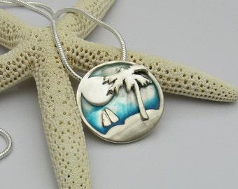 Palm Tree Necklace, Silver Beach Necklace, Sailboat Necklace, Handmade Silver Necklace, Resin Necklace, Artisan Necklace, Beach Wedding
