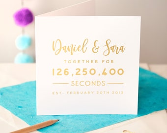 Personalised Gold Foiled Anniversary Card