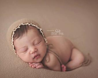 NEWBORN BABY BONNET, knit baby bonnet, ivory, brown, newborn, ivory trim, handmade, baby photo prop,  photography prop, baby photo prop