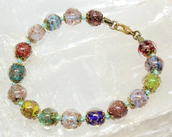 Vintage Venetian Murano Art Glass Multi Colored Bead Bracelet Hand Knotted Gold Tone