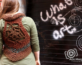 Into the woods.... Hand Crocheted Mandala Vest - Large - XL