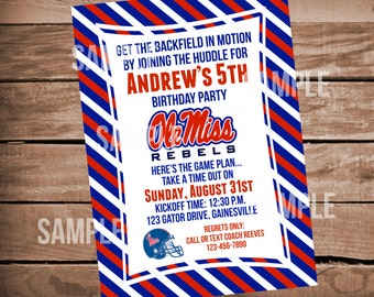 Ole Miss Rebels Football Birthday Party Invitation with Stripes