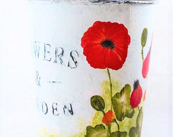 Hand Painted flower pot with Red Poppies