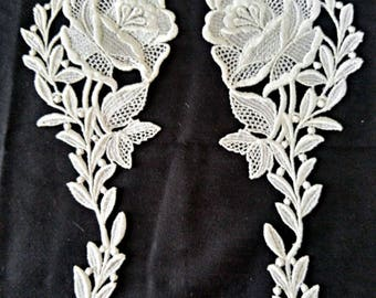 Beautiful Flower White Applique• Venise Floral Lace•Sewing•Embellishment•Craft•DIY•Wedding Supplies• Hat Making•Veil•Jewelry•One Pair•6A