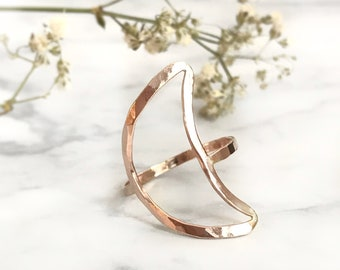 Crescent Moon Ring, Moon Ring, Geometric Ring, Gold Moon Ring, Dainty Moon Ring, Big Moon Ring, Silver Ring, Rose Gold Ring, Stacked Ring