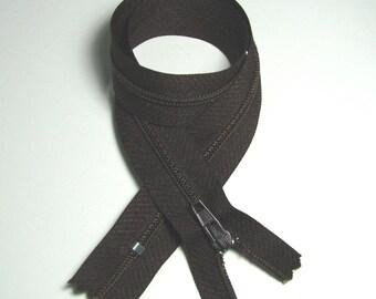 Zipper closure, 40 cm, detachable, Brown, plastic mesh seam, 4 mm.