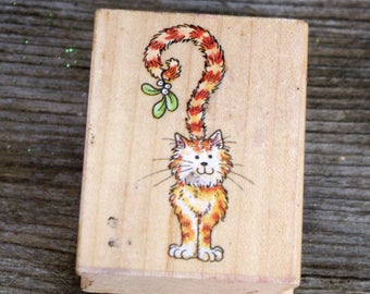 All Night Media Kissing Kitty Wood Mounted Rubber Stamp