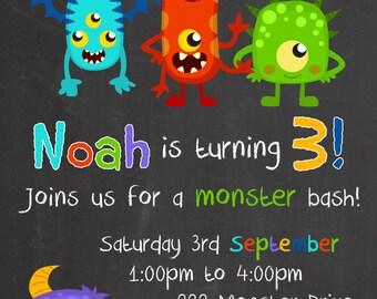 My little Monster Chalk Board Birthday Invitation - Digital file for DIY Printing - JPEG File