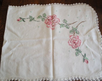 Beautiful Hand Embroidered Dresser Table Runner With Crocheted Edging