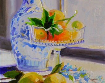 Art Print of an original oil painting of VERGEET MY NIE, yellow and blue, delft, art, kitchen art, wall art