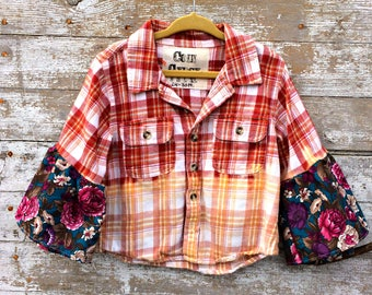 Kids Flared Sleeve Flannel Shirt - Ombre Childrens Plaid Button Up - Hippie Child Clothing - Bell Sleeves