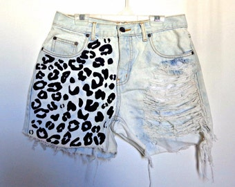 Leopard Distressed and Destroyed High Waist Shorts CUSTOM
