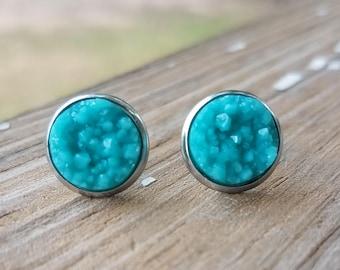 Teal Druzy Stainless Steel Earrings