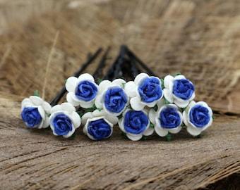 Set of 10 Blue White Mulberry Paper Flower Hair Pins , Bridal Hair Pins, Hair Bobby Pins,U pins,Prom,Bridal Hair Accessories (FL375)