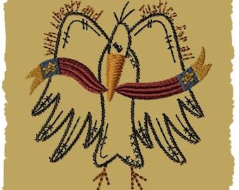 Primitive Machine Embroidery Design-Crow LIberty--(4x4)-INSTANT DOWNLOAD