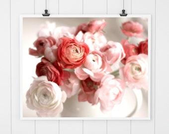 Flower Photography, ranunculus print, flower print, flower wall art, cottage home decor, living room decor, red flower print