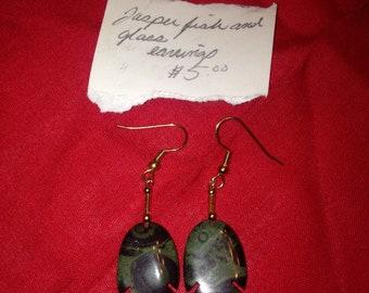 Green jasper fish earrings