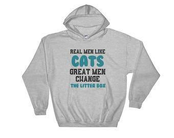 Cat sweater cat hoodie Cat shirt cat shirts - real mean like cats great men change litter box  Hoodie