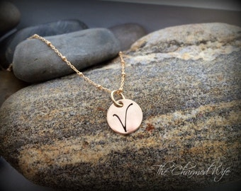 Gold Initial Necklace - Hand Stamped Initial Charms - Simple Gold Initial Jewelry - Personalized - Gold Disc Jewelry -