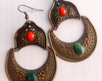 Ethnic Tribal Brass and Turquoise Earrings