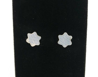 Fine Silver Clay Flower Shaped Earrings
