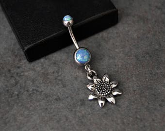 Flower Belly Ring Blue Opal Belly Button Ring Shop Fast Shipping 14 gauge Surgical Steel Dangle Belly Ring Navel Ring Belly Jewelry Piercing