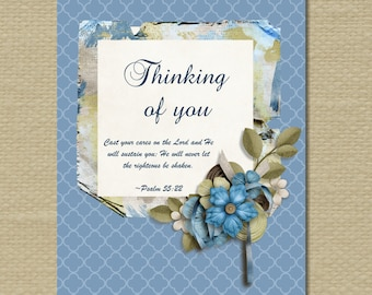 Sympathy Card with Bible Verse.  Digital download.