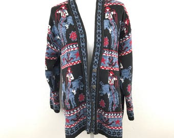Vtg Delia McKain L Cowboy Knit Sweater Intarsia 90s Women Cardigan Rodeo