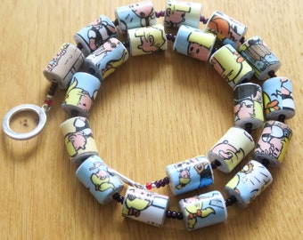 Handmade Unique Handrolled Antique Paper Beaded Necklace - Suske with Ponytail Comic