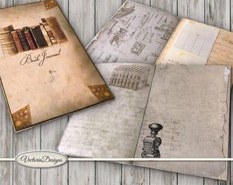 Book Journal Kit Printable Library Journal DIY junk journal crafting paper craft instant download digital collage sheet - VDJOVI1555