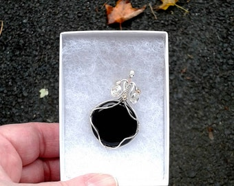 Onyx and Sterling Silver-Filled Pendant - Handmade - Wire-Wrapped - Filigree - Gift Box Included