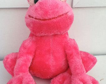 Russ pink Frog Plush _Fruggy_vintage stuffed animal 1980s