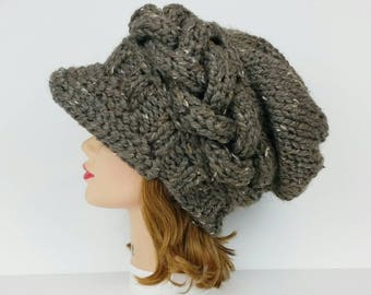 Knit Newsboy Cap, Visor Beanie, Chunky Knit Hat, Women's Hat, Cable Knit Hat, Newsboy Hat, Visor Hat, Slouchy Hats For Women, MADE TO ORDER