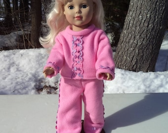 "18""  pink doll pajamas ,pink fleece doll pink pajamas, footed doll pajamas, two piece footed pink doll pajamas, trimmed pj's"