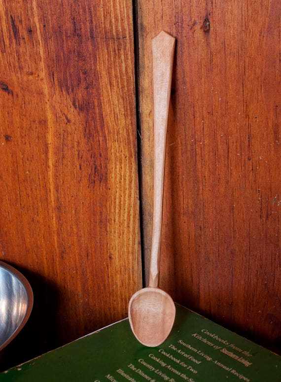 Hand Carved Wooden Spoon Cherry Long Handle