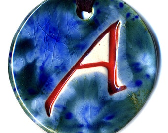 The Scarlet Letter Ceramic Atheist Necklace in Blues