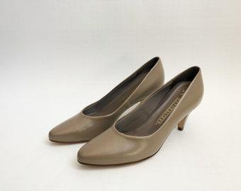 vintage naturalizer pumps tan leather women's size 6.5 90s NIB