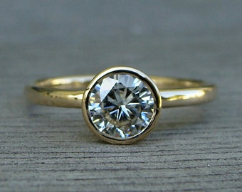Moissanite Engagement Ring - Forever Brilliant Moissanite and Recycled 14k Yellow Gold, with Peekaboo Bezel Setting, Made to Order