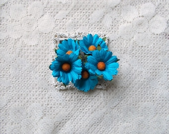 Mulberry Paper flowers, Daisies, Turquoise, for Scrapbooking, Card Making, Mixed Media, Mini Albums, Home Decor