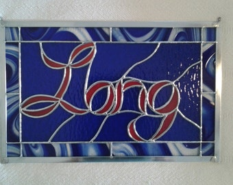 Custom Stained Glass Sign - Stained Glass Logo - Stained Glass Name - Stained Glass Window - Stained Glass Panel