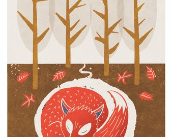 Woodland Nursery Art Sleeping Fox, Animal Print, Autumn